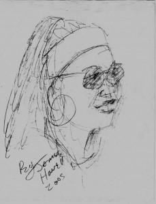 An artist's depiction of Sheri Bailey, playwright and Executive Director of Juneteenth VA.